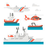 Flat design coast guard vehicle Royalty Free Stock Images