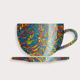 Flat design coffee cup. Abstract colorful pattern mug with saucer Royalty Free Stock Photo