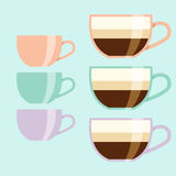 Flat design coffee cup. Three pastel colors mug: peachy, minty and lilac Stock Photo