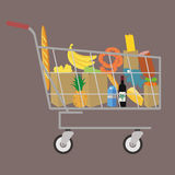 Flat design colored vector illustration of food. And drink products , concept for retail Stock Photography