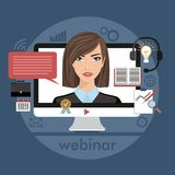 Flat design colorful illustration concept for webinar, online learning, lectures in internet in vector Stock Image