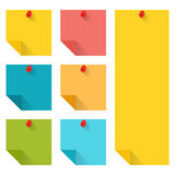 Flat design of colorful pinned sticky notes. Stock Photography