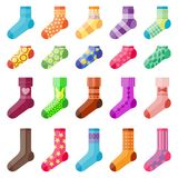 Flat design colorful socks set vector illustration selection of various cotton foot warm cloth Stock Photos