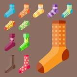 Flat design colorful socks set vector illustration selection of various cotton foot warm cloth stock illustration