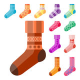 Flat design colorful socks set vector illustration selection of various cotton foot warm cloth Stock Images
