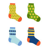 Flat design colorful socks set vector illustration. Stock Photos