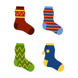 Flat design colorful socks set vector illustration. Royalty Free Stock Photo
