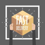 Flat design colorful vector illustration concept for delivery service, e-commerce, online shopping, receiving package Royalty Free Stock Images