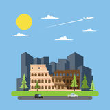 Flat design of coloseum Italy Royalty Free Stock Images
