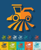 Flat design. combine-harvester Royalty Free Stock Image