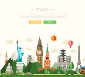 Flat design composition illustration with world famous landmarks Royalty Free Stock Photography