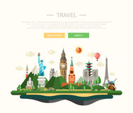 Flat design composition illustration with world famous landmarks Stock Photo