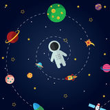 Flat design composition of space icons. Space theme icons  with flat astronomic symbols of planets, rocket, telescope for design, invitations and advertisement Stock Image
