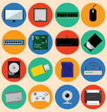 Flat Design Computer Hardware and Device, Vector Illustration Stock Images
