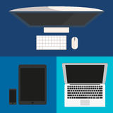 Flat design. Computer monitor, smartphone, laptop and tablet pc. Royalty Free Stock Photography