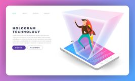 Flat design concepr isometric hologram. Vector illustrations. stock illustration