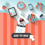 Flat design concept of add to bag Stock Images
