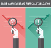 Flat design concept of analyzing business financial and economic. Crisis and growth. Beautiful vector illustration Royalty Free Stock Photography