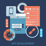 Flat design concept for app development with smartphone, tools, programing code on blue background Stock Photography