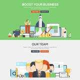 Flat design concept banner - Bosst your business and Our Team Stock Images