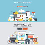 Flat design concept banner - Cloud Computing and Seo. Set of Flat Color Banners Design Concepts for Cloud Computing and Seo Optimization. Concepts web banner and Royalty Free Stock Image