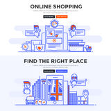 Flat design concept banner - Online Shopping and Find the Right. Set of Flat Line Color Banners Design Concepts for Online Shopping and Find the Right Place Royalty Free Stock Photo