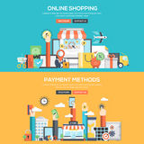 Flat design concept banner - Online Shopping and Payment Methods Royalty Free Stock Images