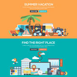 Flat design concept banner - Summer Vacation and Find the Right Royalty Free Stock Photos