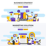 Flat design concept banners - Business Strategy and Marketing So Royalty Free Stock Photos