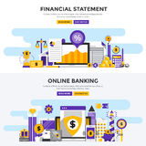 Flat design concept banners - Financial Statement and Online Ban. Set of Flat Design Color Banners Concepts for Financial Statement and Online Banking. Concepts Royalty Free Stock Photo