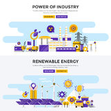 Flat design concept banners - Power of Industry and Renewable En Royalty Free Stock Images