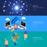 Flat design concept big data, cloud computing and crowdsourcing. Vector Illustrate Stock Images