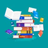 Flat design concept books. Education and learning with a books. Vector illustrate Royalty Free Stock Photography