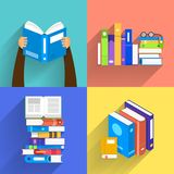 Flat design concept books. Education and learning with a books. Vector illustrate Stock Photos