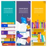 Flat design concept books. Education and learning with a books. Vector illustrate Royalty Free Stock Photos
