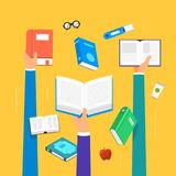 Flat design concept books. Education and learning with a books. Flat design concept books. Education and learning with  hands hold a  books. Vector illustrate Royalty Free Stock Images
