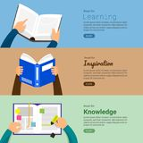 Flat design concept books. Education and learning with a books. Flat design concept books. Education and learning with hand and reading  books. Vector Stock Photo