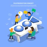 "Flat design concept brainstorm working on desktop icon ""Film P. Roduction"". Vector illustrate Royalty Free Stock Images"