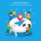 "Flat design concept brainstorm working on desktop icon ""Locati. On Map"". Vector illustrate Royalty Free Stock Photo"