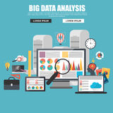 Flat design concept of business big data analysis. Global analytics, financial research report, marketing statistics. Concepts for web banner and printed Stock Photo