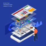 Flat design concept business strategy. 3d isometric flat design. Analysis data and Investment. Business success.Financial review with laptop and infographic Stock Images