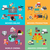 Flat design concept cinema, set of movie online and production Stock Image