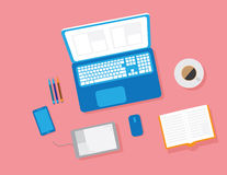 Flat Design Concept of Creative Office Workspace. Royalty Free Stock Images