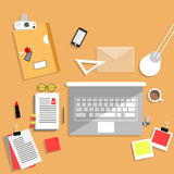 Flat design concept of creative office workspace. Royalty Free Stock Image