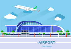 Flat design concept of detailed airport building with airplane Stock Photos