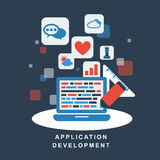 Flat design concept of development process an application Royalty Free Stock Photos
