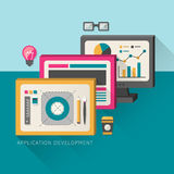 Flat design concept of development process an application Royalty Free Stock Image