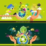 Flat design concept for ecology and recycle royalty free illustration