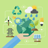 Flat Design Concept Environment and Green Icons Vectors Stock Photo
