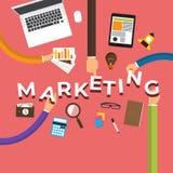 Flat design concept hand create marketing. Vector illustrations. royalty free illustration
